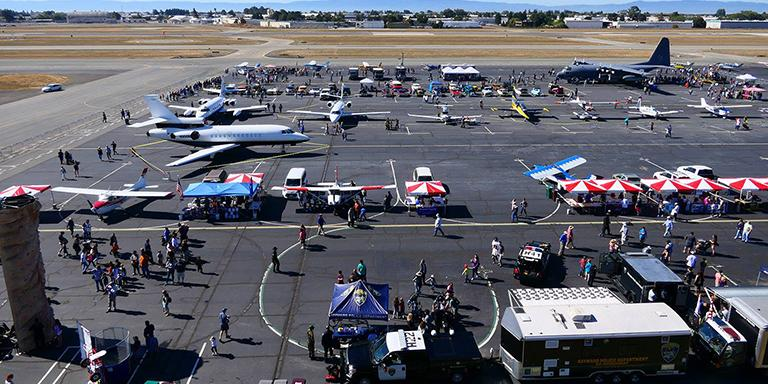 Photo of the 2017 Hayward Executive Airport Open House from above