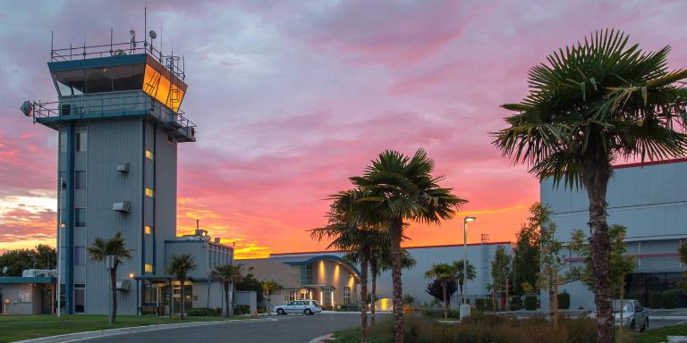 Hayward Executive Airport at sunset