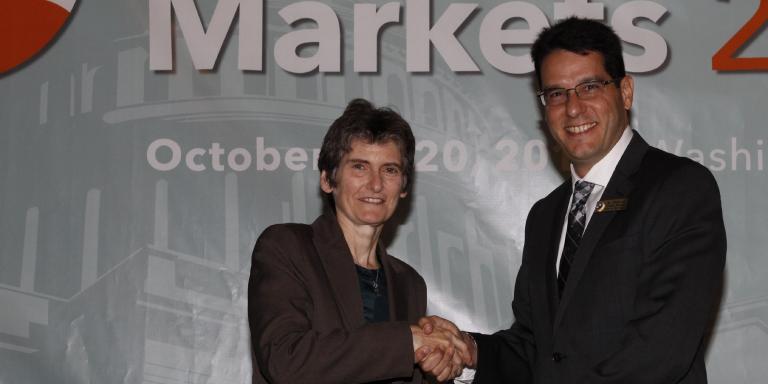 Council Member Medall accepting EPA Green Power Award