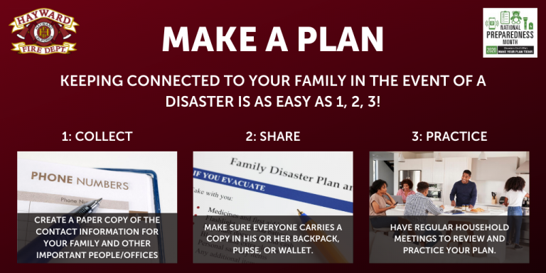 A family making a disaster preparedness plan