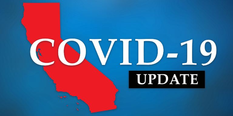 Photo of a red graphic of California on a blue back ground. Text reads: COVID-19 Update