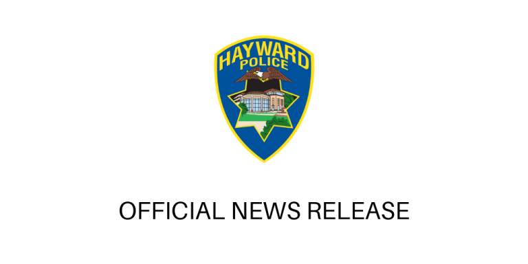 "White background with Hayward Police Department Shield in the center. Below is text in balc that reads ""Official News Release"""
