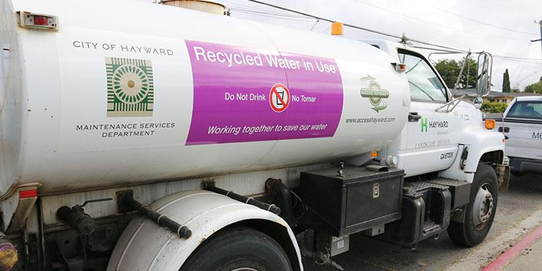 recycled water sign on a Hayward Maintenance Services water truck
