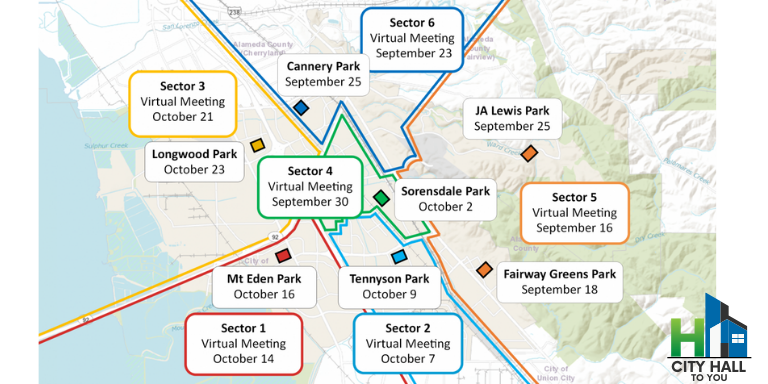 Map of Hayward showing the different meeting locations