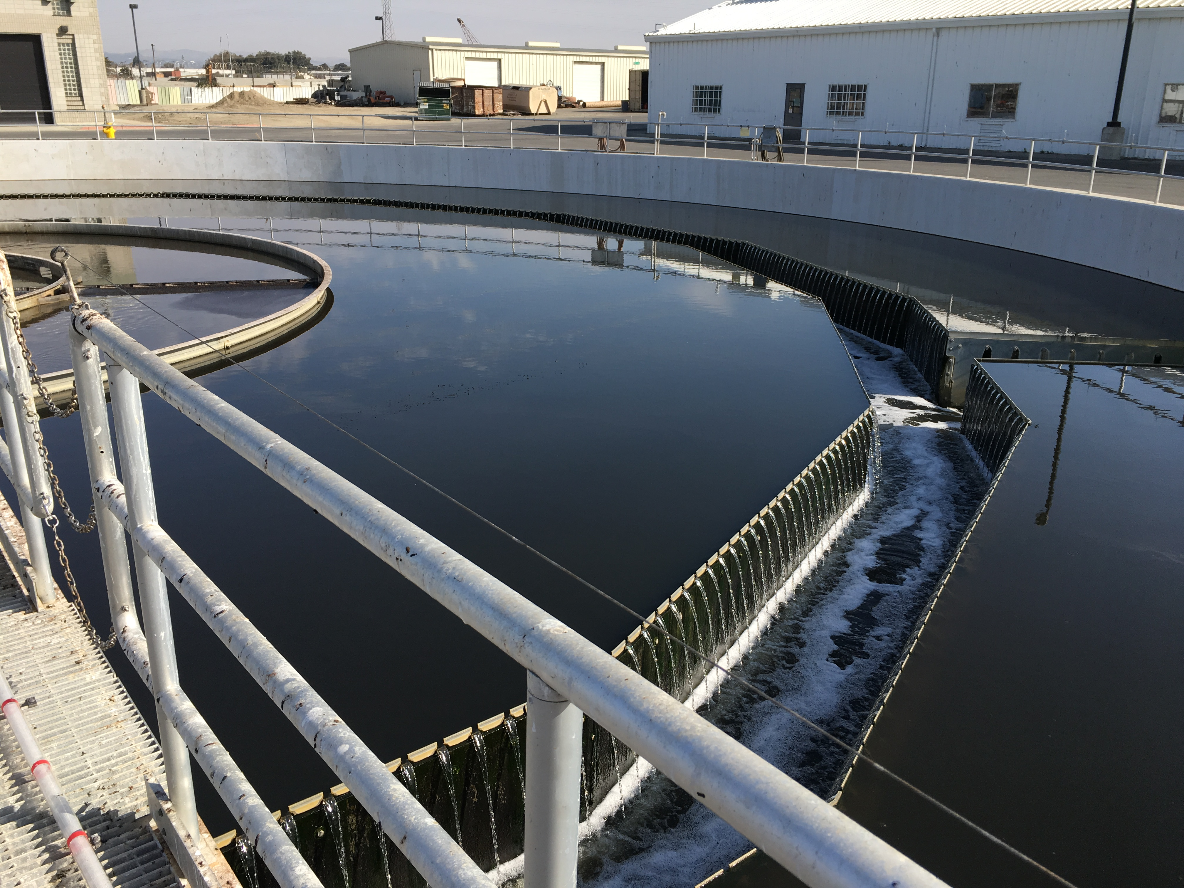 Secondary clarify removes suspended solids, organic matter, which are then thickened and broken down in anaerobic digesters. The digesters produce biogas that fuel the on-site co-generation engine.