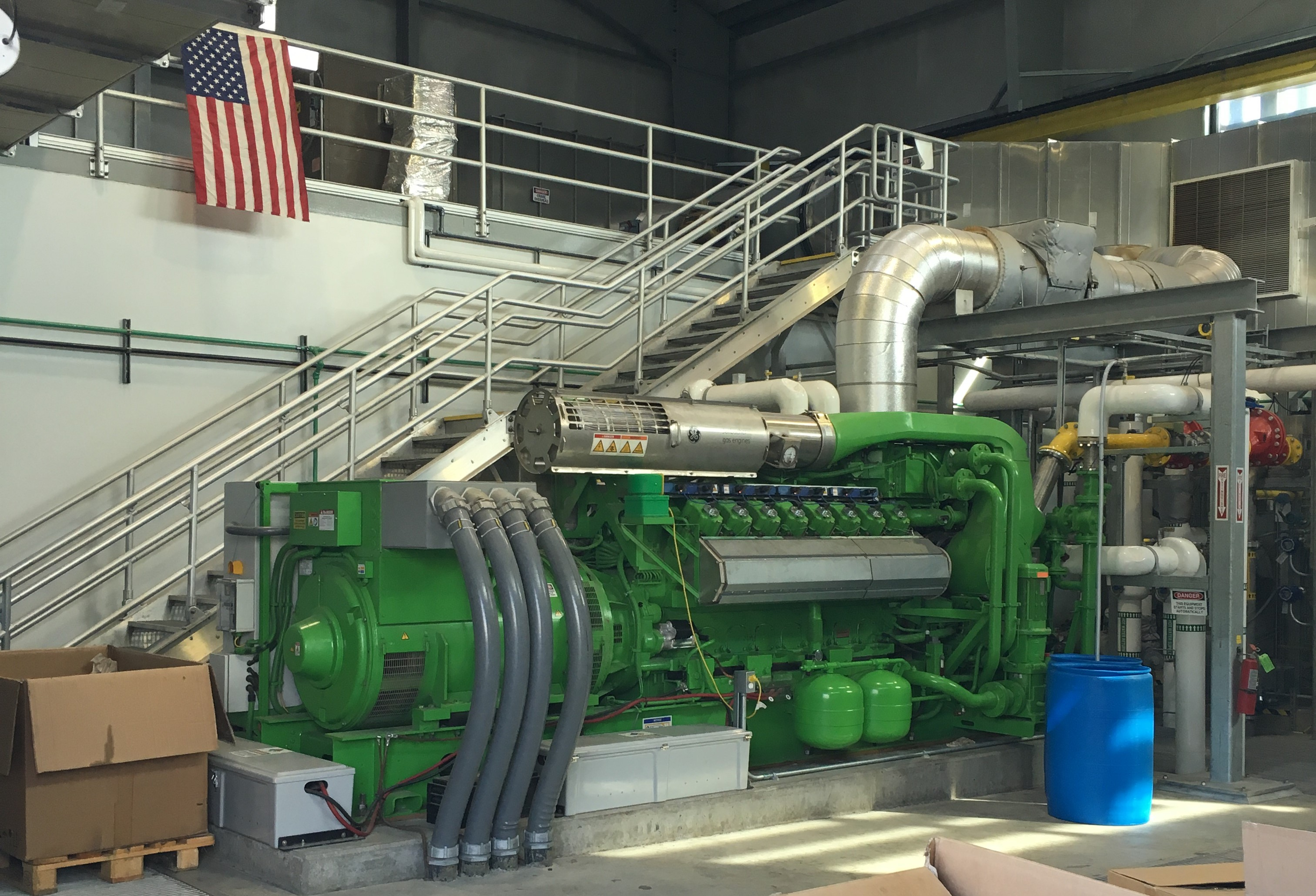 The co-generation engine generates enough electricity to run the entire WPCF